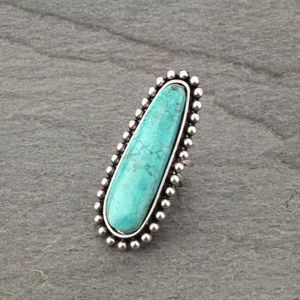 Turquoise Natural Stone Adjustable Ring. Western.